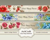 ETSY SHOP BANNERS, Set No20 - Multipurpose digital images/ Printable Download/ Digital Collage Sheets/ Bookmarks/ Paper Goods