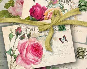 Printable Download OLD CHIC POSTCARDS Digital Collage Sheet Victorian Vintage Roses Greeting cards Shabby decoupage Scrapbooking Paper