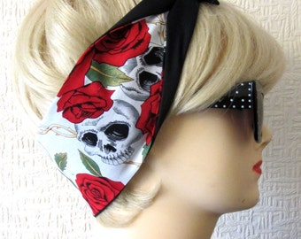 Big Skull, Rose and Vine print Rockabilly Hair Tie in White & Red by Dolly Cool