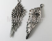 1 x oxidized sterling silver wing pendant 43mm (12146pendox)