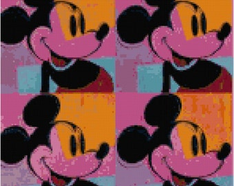 Mickey Mouse Andy Warhol Repeat Counted Cross Stitch Pattern