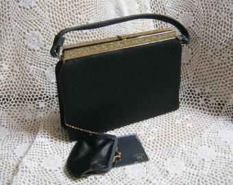 Vintage black Kelly style evening bag, black Kelly bag with ornate goldtone frame, black dressy bag with accessories After Five USA