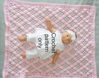 Crochet pattern (PDF) for 15 inch baby doll - Diamonds blanket for Bitty Baby or Cabbage Patch