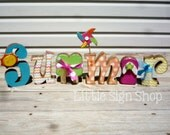Distressed sparkly SUMMER letter decoration with flip flop, pinwheel and popsicle