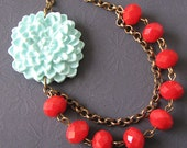 Flower Necklace Bridesmaid Jewelry Beaded Necklace Mint Jewelry Red Necklace Statement Jewelry