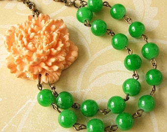 Flower Necklace Peach Jewelry Green Necklace Beaded Necklace Bridesmaid Jewelry Gift For Her