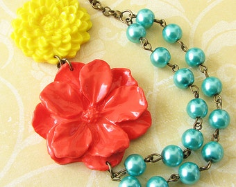 Flower Necklace Beaded Necklace Statement Jewelry Coral Necklace Teal Jewelry Yellow Necklace Woman Gift Multi Strand