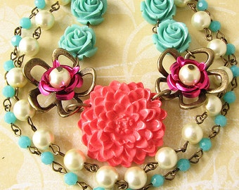 Statement Necklace Flower Necklace Coral Jewelry Turquoise Necklace Bib Necklace Multi Strand Bridesmaid Necklace Gift