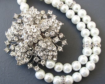 Pearl Statement Necklace Bridal Jewelry Wedding Jewelry Flower Necklace Double Strand Swarovski Crystal Bridal Necklace