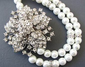 Bridal Jewelry Wedding Jewelry Rhinestone Flower Necklace Bridal Necklace Swarovski Crystal Necklace Gift For Woman