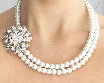 Bridal Necklace Wedding Jewelry Statement Necklace Bridal Jewelry Pearl Rhinestone Necklace Gift For Her