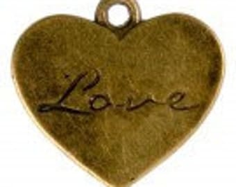 Heart Charm, Heart Pendant,  Antique Brass Love Heart Charm Pack Of 10 Charms