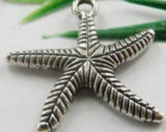 Starfish Charms, Silver Tone, Pack Of 10 Charms.