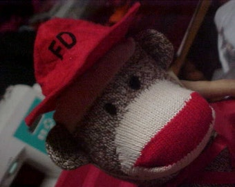 Fireman Sock Monkey New Classic Original Rockford Red Heel Gift