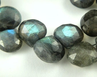 Labradorite Heart Briolette, Faceted Beads Drops, 3 MATCHED PAIRs Beads 9-10mm, 6 pcs