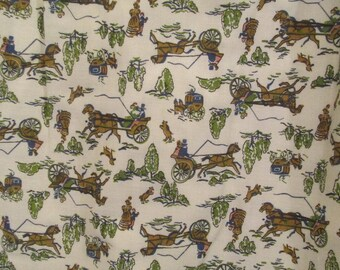 Set of Vintage Drapes with Horse Drawn Wagon Print SALE
