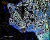 Coyote Art Southwestern Blue Photomontage Native American Totem Animal Wildlife Woodland Rustic Cabin Home Decor Wall Hanging 8 x 10