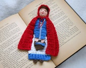 little red riding hood thread crochet bookmark