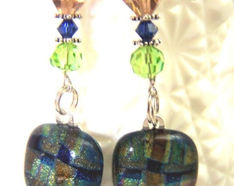 On SALE Green Blue and Taupe  Long Dichroic Earrings, Fused Dichroic Glass, Sterling Silver and Swarovski Crystals. Statement Earring