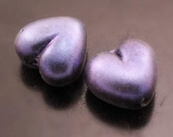 Handmade Lampwork Heart Beads Blue Pixie Dust on Black Earring Pair Heather Behrendt BHV SRA LETeam