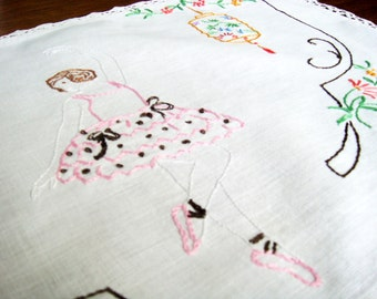 Vintage Ballerina Table Linen, Vintage Table Scarf with Embroidered Ballerina Chinese Lanterns and Flowers Crochet Lace Edging