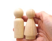 """3"""" Peg Doll Wedding Cake Toppers Bride and Groom- size 3"""" - Fair Trade 2 Wooden Dolls - Unpainted"""