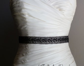 BLACK - Crochet Ribbon Lace Bridal or Bridesmaids Sash or Wedding Supply - 3 yards in length