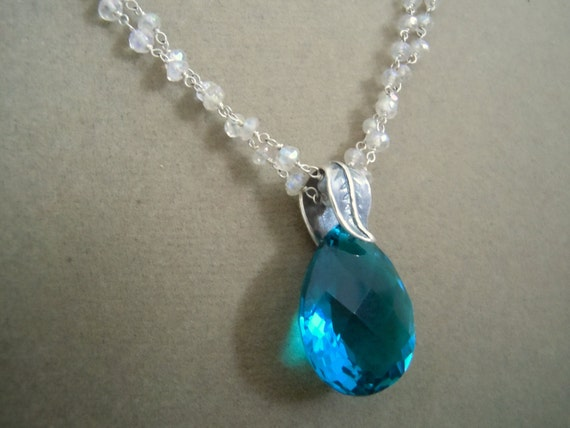 Sand and Sky -- Paraiba Blue Apatite Gemstone and Labradorite Rondelle necklace