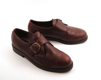 Bass Shoes Oxfords Vintage 1980s Brown Shoes Men's size 9 1/2