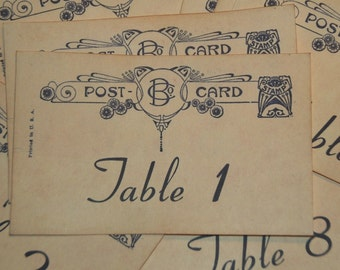 Wedding Table Numbers,  Vintage Postcard Style, Destination Wedding, Vintage Wedding, Quantity 20