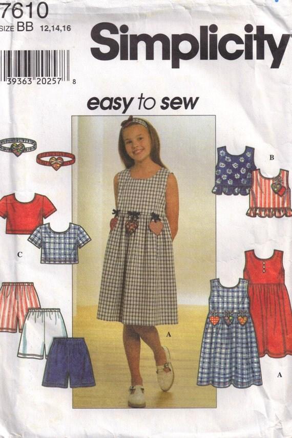 Girls Sundress Empire waist and Headband Simplicity 7610 Sewing Pattern  Size 12, 14, 16
