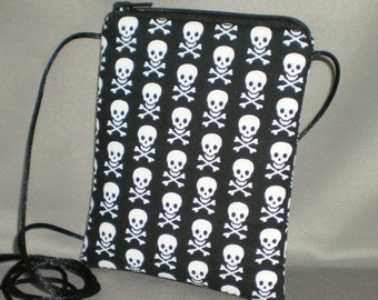 Sling Bag - Wallet on a String - Small Mini Bag Purse - Zipper Pouch - Skulls and Crossbones - Black and White