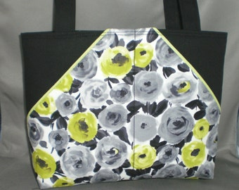 Fabric Tote Bag - Purse - Roses - Lime Green - Gray - Black - White - Sassy Pockets