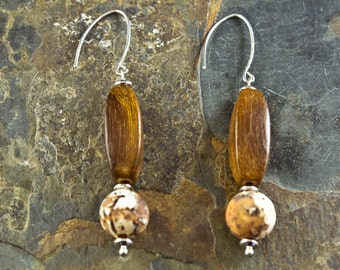 Handcrafted Jasper, Wood, and Sterling Silver Earrings (E226)