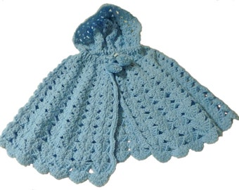 Cape Light Blue with Hood, Crochet Baby Cape