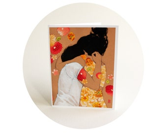 Peach Hug - Romantic Couple Floral Art Card - Orange and Red Flowers