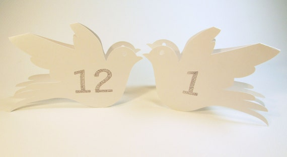 Love Bird Table Number Cards for Weddings and Bridal Showers - Tent Style - Set of 12 - Eco Friendly Card Stock