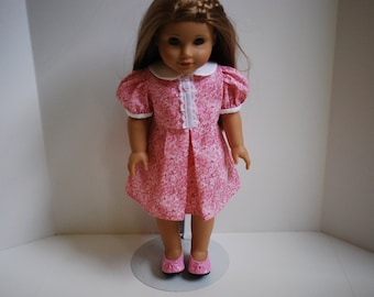 18 Inch American Girl Doll Accessories - Pink Retro Dress Includes Shoes