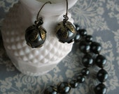 Pearl Noir Brass and Glass Necklace and Earring Set