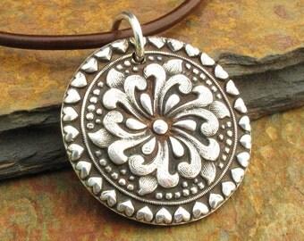 PMC Fine Silver Flower Necklace - Rose Mandala