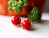 Red coral round stud earrings, wirewrapped in red gold filled wire