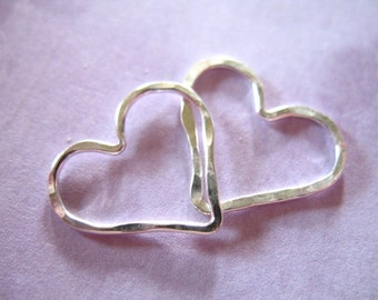 Shop Sale..1 5 10 pc, Sterling Silver HEART Charms Pendants Links Connectors, Hammered, 15.5x14 mm, love brides bridal bridesmaids gifts hht