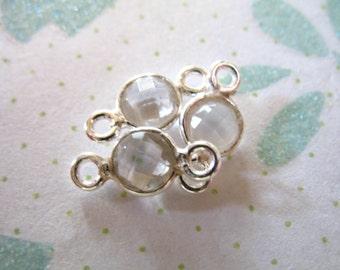 Sale.. 1 5 10 pcs, Crystal Quartz Gemstone Connectors Links, Sterling Silver, 12x7 mm, Clear april mini gcl5
