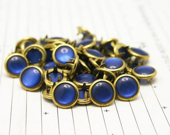 Limited Edition 24 GOLD RIMMED Cobalt Blue Cowgirl Snaps Pearl Prong Western Snaps
