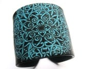 SALE Black and Turquoise Cuff Bracelet, East Indian Design, Handmade Jewelry by theshagbag on Etsy