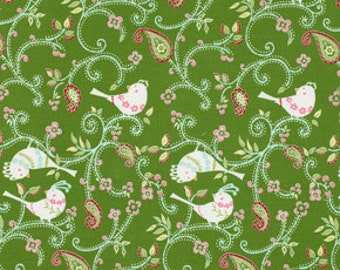 Love and Joy Dotty Birds in Green by Dena Designs for Free Spirit - 1 yard