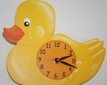 Yellow Ducky Wooden WALL CLOCK for Kids Bedroom Baby Nursery WC0085