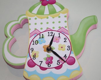 Tea Pot Party Wooden WALL CLOCK for Girls Bedroom Baby Nursery WC0037