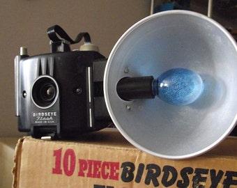 Midcentury Birdseye Camera with Flash, Original Box, Instructions