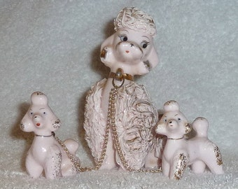 Vintage Napco Pink Spaghetti Poodle Dog 1950s Figurines Mom Puppies Chained